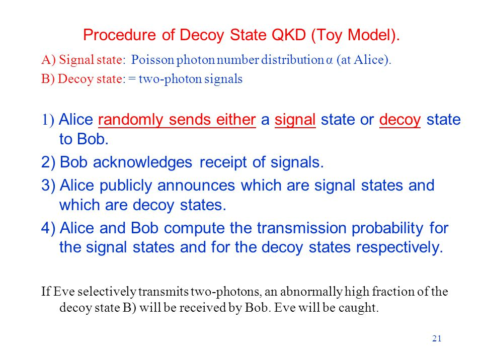 21 Procedure of Decoy State QKD (Toy Model).