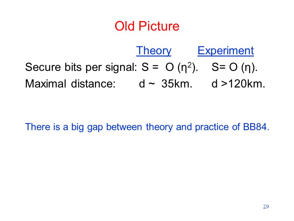 29 Old Picture Theory Experiment Secure bits per signal: S = O (η 2 ).