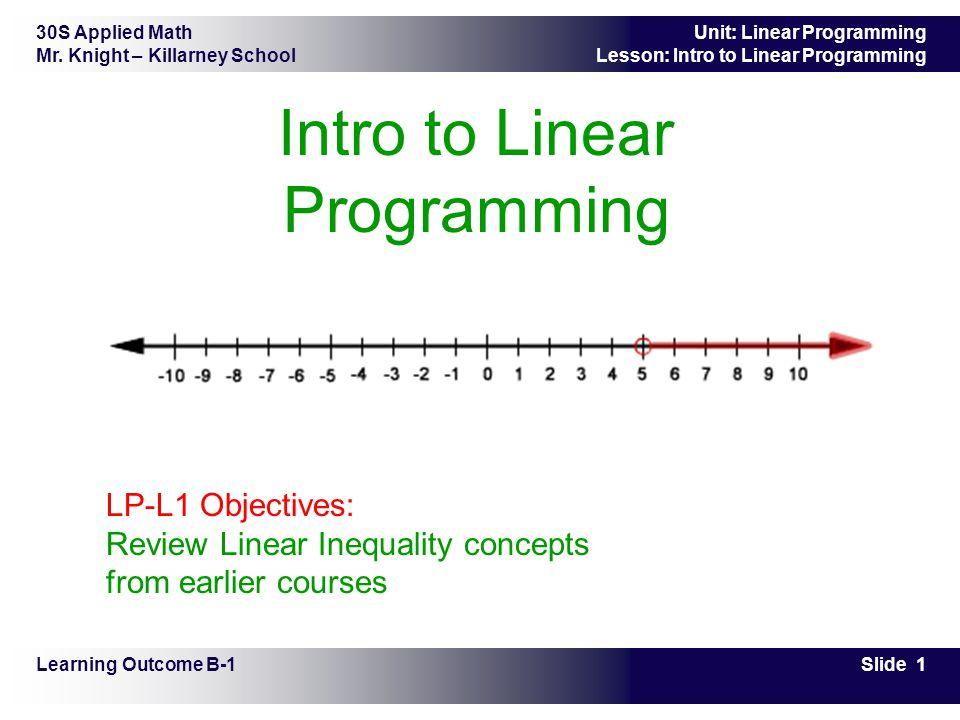 30S Applied Math Mr. Knight – Killarney School Slide 1 Unit: Linear Programming Lesson: Intro to Linear Programming Intro to Linear Programming Learni