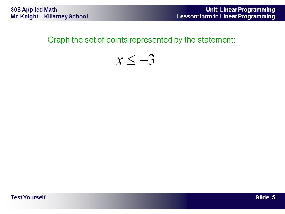 30S Applied Math Mr. Knight – Killarney School Slide 5 Unit: Linear Programming Lesson: Intro to Linear Programming Graph the set of points represente