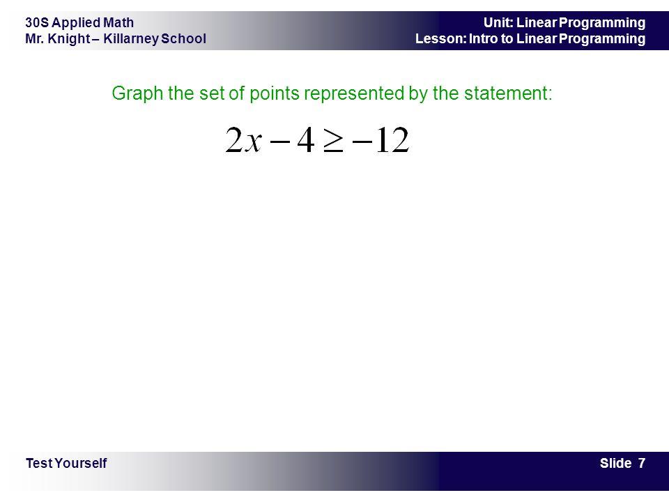 30S Applied Math Mr. Knight – Killarney School Slide 7 Unit: Linear Programming Lesson: Intro to Linear Programming Graph the set of points represente