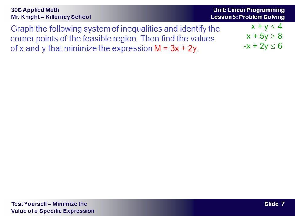30S Applied Math Mr. Knight – Killarney School Slide 7 Unit: Linear Programming Lesson 5: Problem Solving Graph the following system of inequalities a