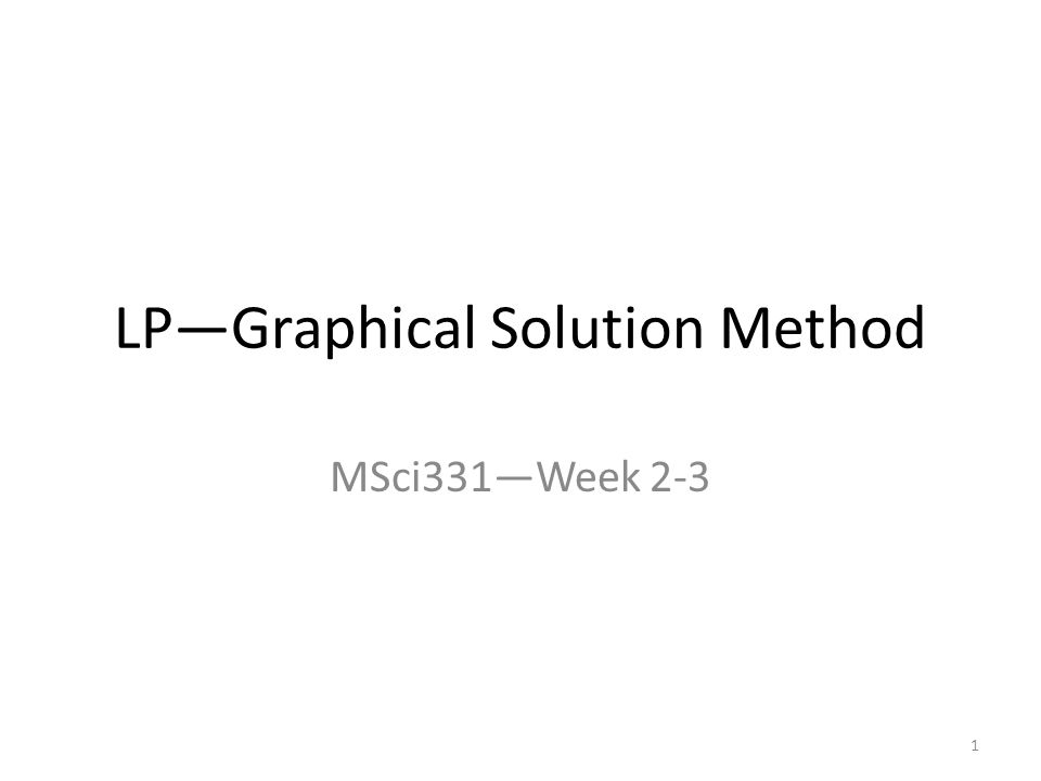 LP—Graphical Solution Method MSci331—Week 2-3 1