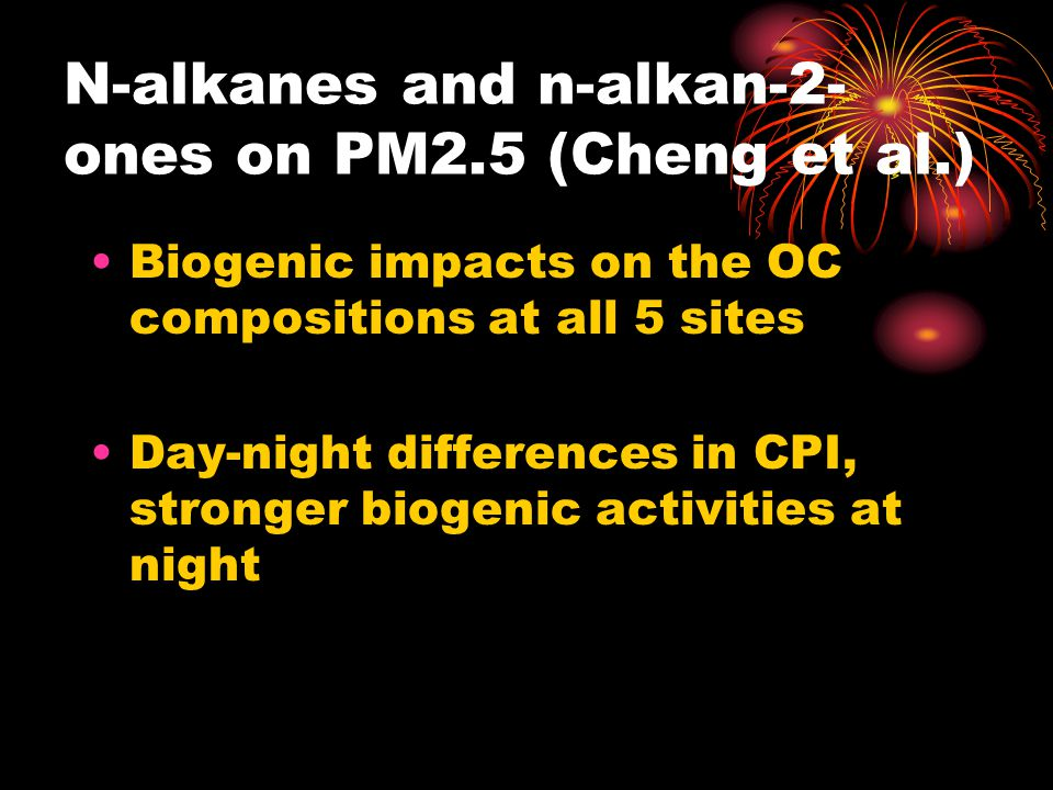 N-alkanes and n-alkan-2- ones on PM2.5 (Cheng et al.) Biogenic impacts on the OC compositions at all 5 sites Day-night differences in CPI, stronger biogenic activities at night