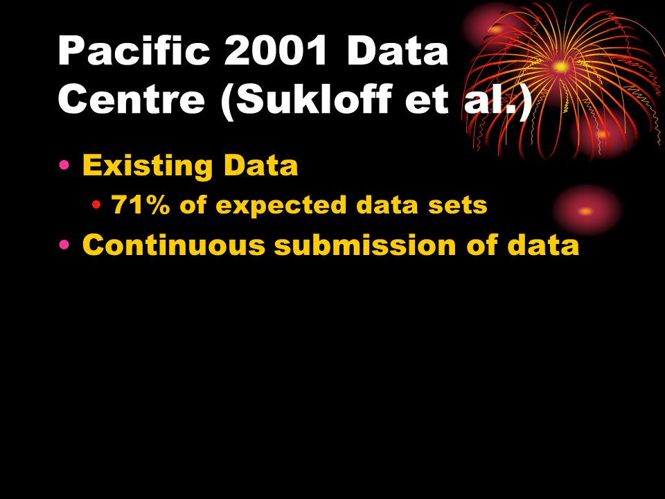 Pacific 2001 Data Centre (Sukloff et al.) Existing Data 71% of expected data sets Continuous submission of data
