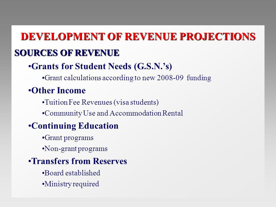 DEVELOPMENT OF REVENUE PROJECTIONS SOURCES OF REVENUE Grants for Student Needs (G.S.N.'s) Grant calculations according to new 2008-09 funding Other Income Tuition Fee Revenues (visa students) Community Use and Accommodation Rental Continuing Education Grant programs Non-grant programs Transfers from Reserves Board established Ministry required
