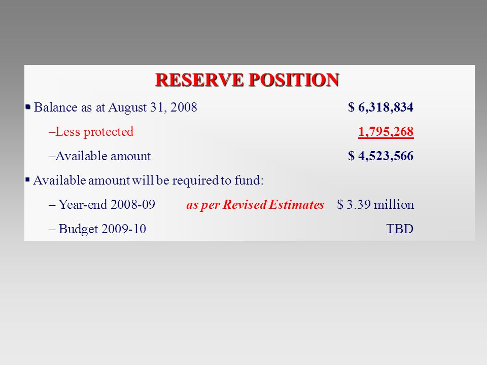 RESERVE POSITION   Balance as at August 31, 2008$ 6,318,834 –Less protected1,795,268 –Available amount$ 4,523,566  Available amount will be required to fund: – Year-end as per Revised Estimates $ 3.39 million – Budget TBD