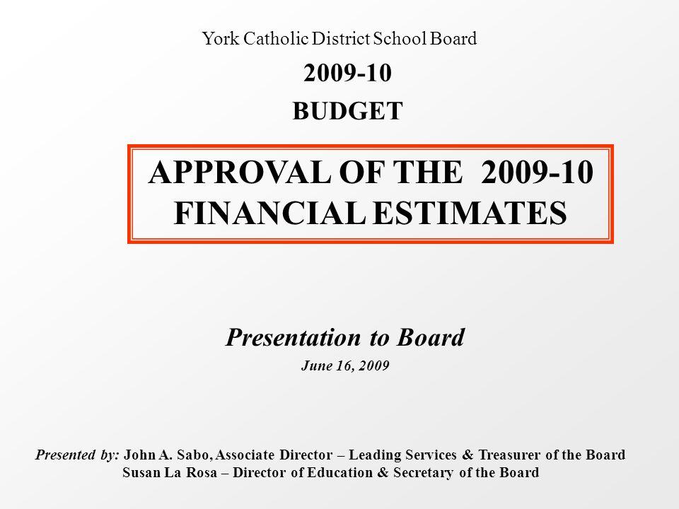 Presentation to Board June 16, 2009 Presented by: John A. Sabo, Associate Director – Leading Services & Treasurer of the Board Susan La Rosa – Directo