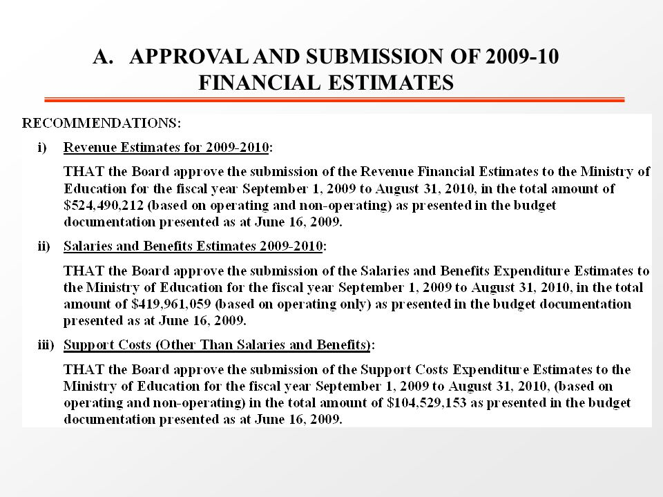 A. APPROVAL AND SUBMISSION OF 2009-10 FINANCIAL ESTIMATES
