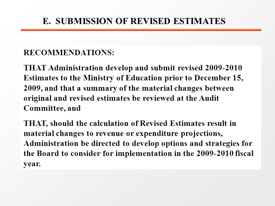 E. SUBMISSION OF REVISED ESTIMATES RECOMMENDATIONS: THAT Administration develop and submit revised 2009-2010 Estimates to the Ministry of Education pr