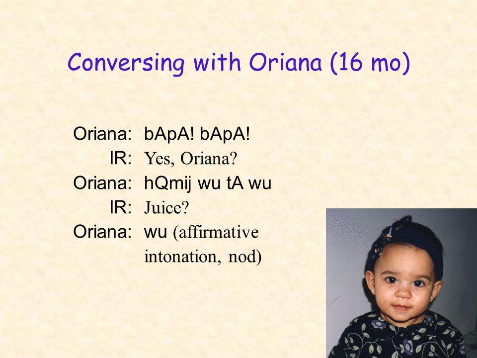 Conversing with Oriana (16 mo) Oriana:bApA! bApA! IR: Yes, Oriana? Oriana:hQmij wu tA wu IR: Juice? Oriana:wu (affirmative intonation, nod)