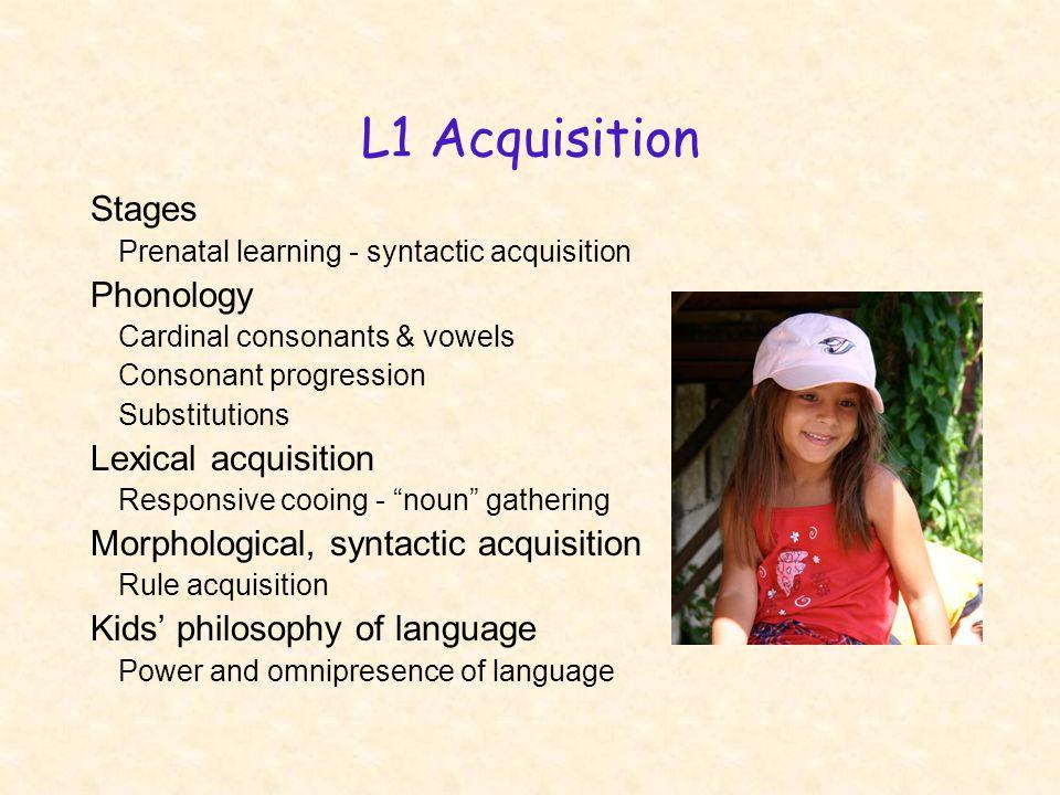 L1 Acquisition Stages Prenatal learning - syntactic acquisition Phonology Cardinal consonants & vowels Consonant progression Substitutions Lexical acq