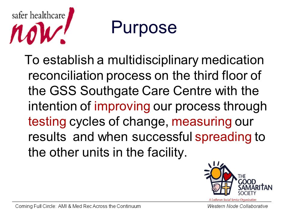 Coming Full Circle: AMI & Med Rec Across the Continuum Western Node Collaborative Purpose To establish a multidisciplinary medication reconciliation process on the third floor of the GSS Southgate Care Centre with the intention of improving our process through testing cycles of change, measuring our results and when successful spreading to the other units in the facility.