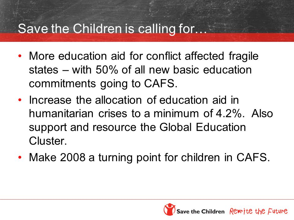 Save the Children is calling for… More education aid for conflict affected fragile states – with 50% of all new basic education commitments going to CAFS.