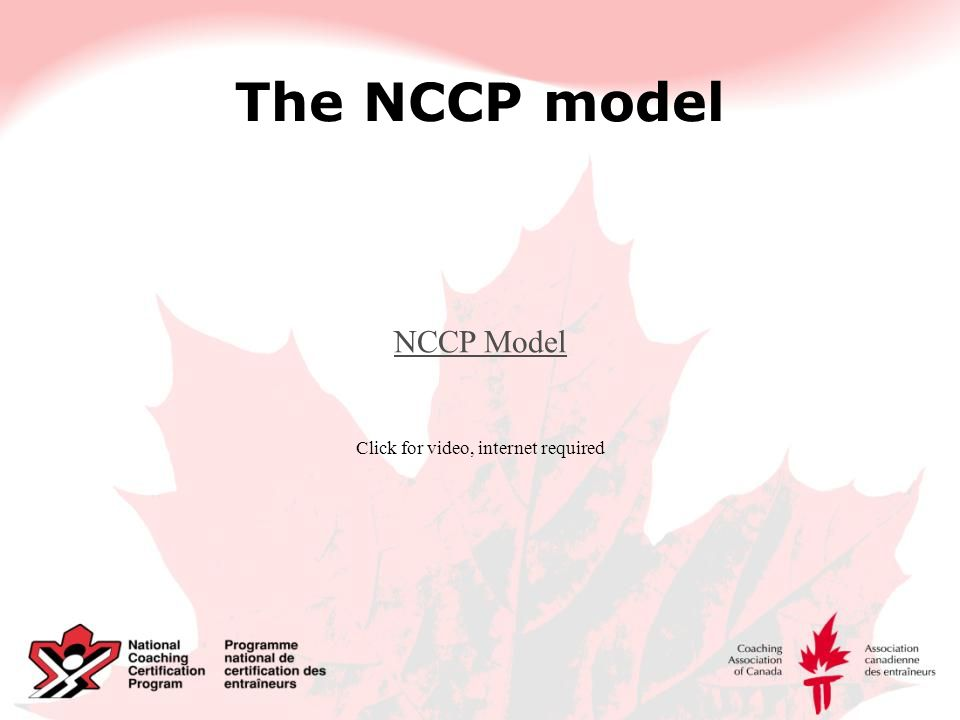 The NCCP model NCCP Model Click for video, internet required