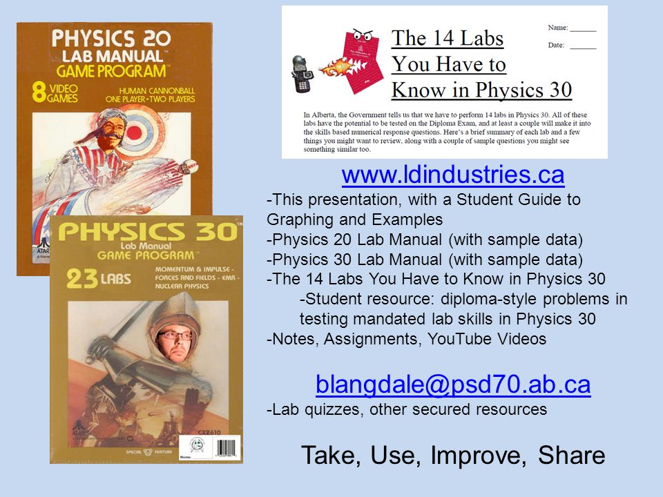 www.ldindustries.ca -This presentation, with a Student Guide to Graphing and Examples -Physics 20 Lab Manual (with sample data) -Physics 30 Lab Manual (with sample data) -The 14 Labs You Have to Know in Physics 30 -Student resource: diploma-style problems in testing mandated lab skills in Physics 30 -Notes, Assignments, YouTube Videos blangdale@psd70.ab.ca -Lab quizzes, other secured resources Take, Use, Improve, Share