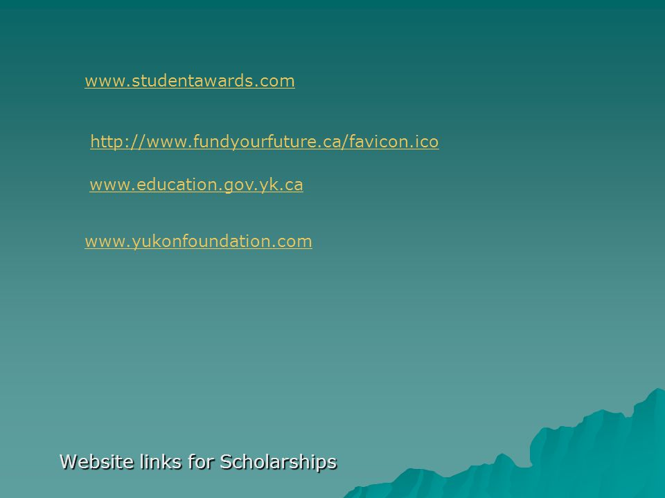Website links for Scholarships