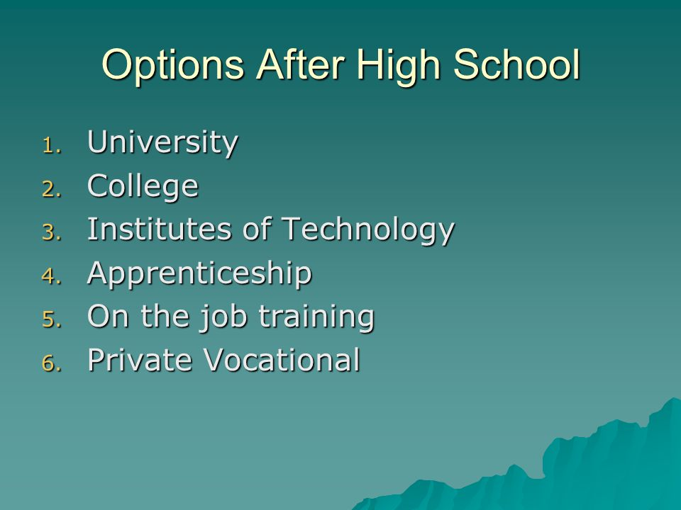 Options After High School 1. University 2. College 3.