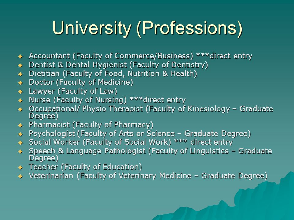 University (Professions)  Accountant (Faculty of Commerce/Business) ***direct entry  Dentist & Dental Hygienist (Faculty of Dentistry)  Dietitian (Faculty of Food, Nutrition & Health)  Doctor (Faculty of Medicine)  Lawyer (Faculty of Law)  Nurse (Faculty of Nursing) ***direct entry  Occupational/ Physio Therapist (Faculty of Kinesiology – Graduate Degree)  Pharmacist (Faculty of Pharmacy)  Psychologist (Faculty of Arts or Science – Graduate Degree)  Social Worker (Faculty of Social Work) *** direct entry  Speech & Language Pathologist (Faculty of Linguistics – Graduate Degree)  Teacher (Faculty of Education)  Veterinarian (Faculty of Veterinary Medicine – Graduate Degree)
