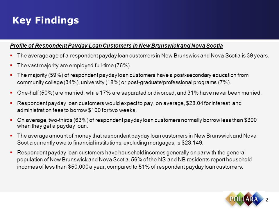 2 Profile of Respondent Payday Loan Customers in New Brunswick and Nova Scotia  The average age of a respondent payday loan customers in New Brunswick and Nova Scotia is 39 years.