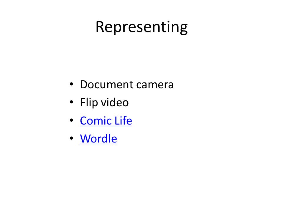 Representing Document camera Flip video Comic Life Wordle