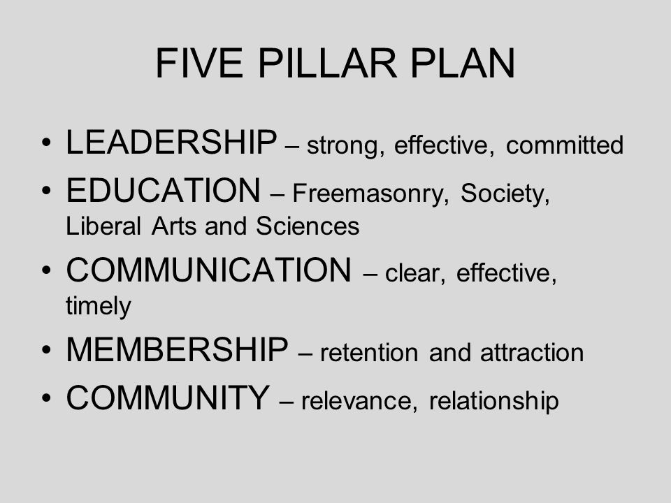 FIVE PILLAR PLAN LEADERSHIP – strong, effective, committed EDUCATION – Freemasonry, Society, Liberal Arts and Sciences COMMUNICATION – clear, effectiv
