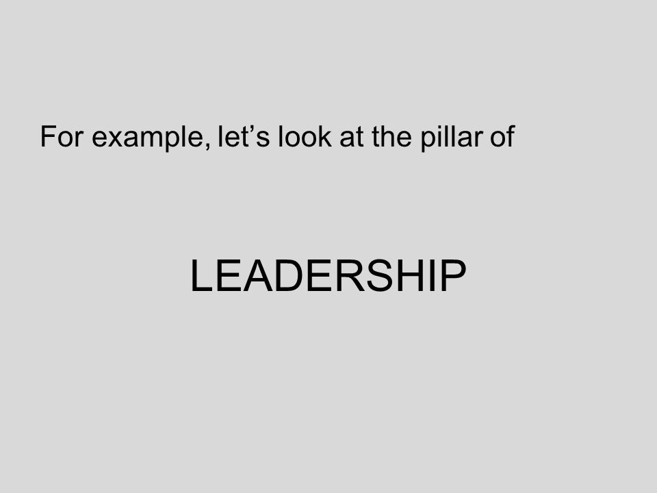 For example, let's look at the pillar of LEADERSHIP