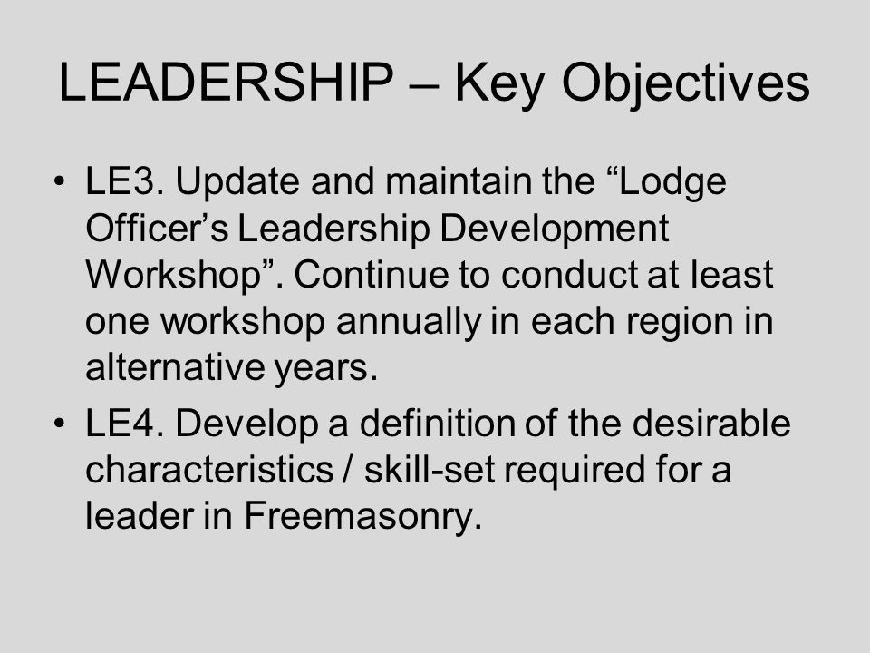 LEADERSHIP – Key Objectives LE3.
