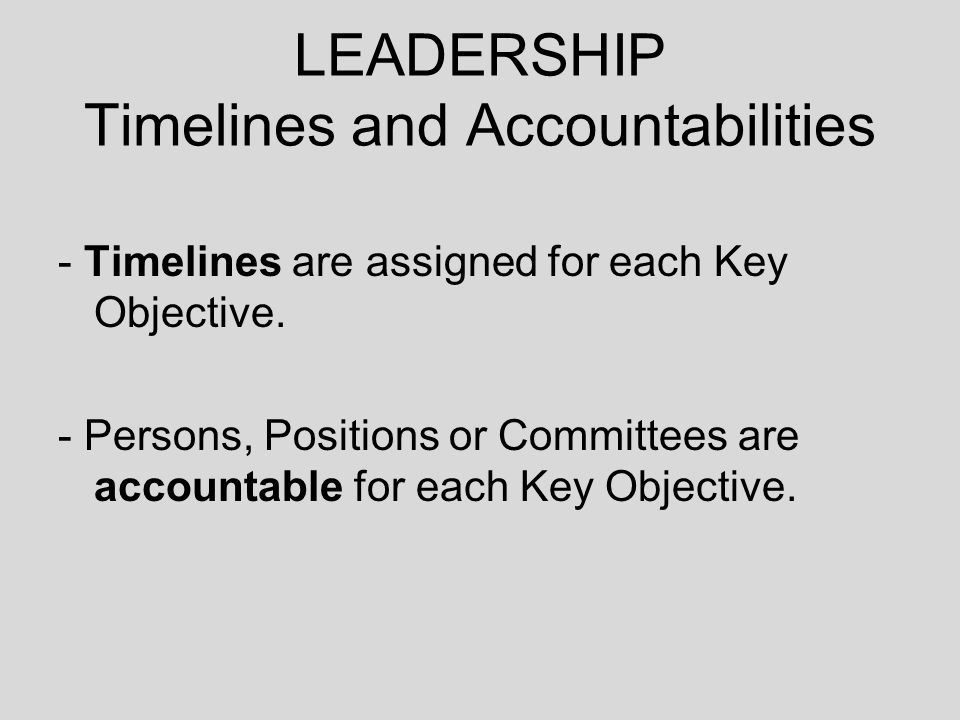 LEADERSHIP Timelines and Accountabilities - Timelines are assigned for each Key Objective.