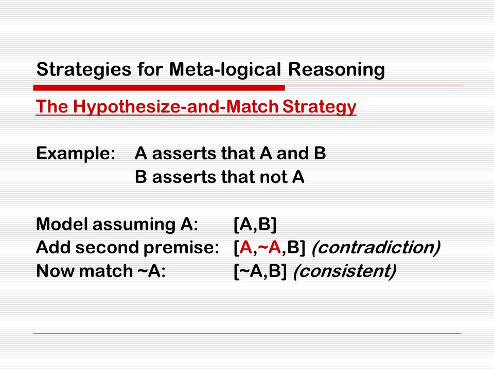 Strategies for Meta-logical Reasoning The Hypothesize-and-Match Strategy Example:A asserts that A and B B asserts that not A Model assuming A:[A,B] Ad