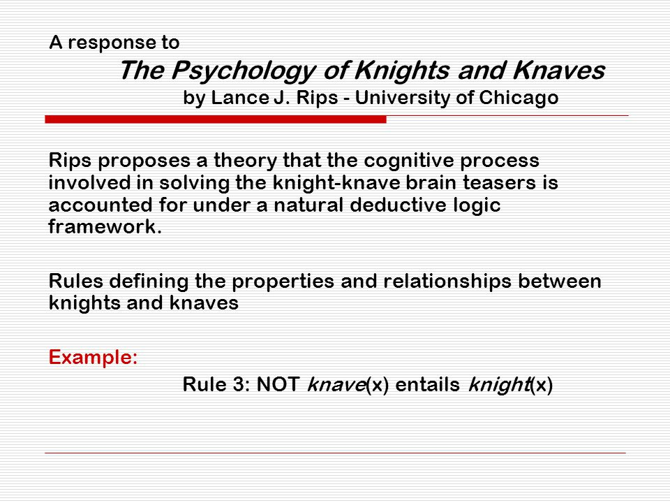 A response to The Psychology of Knights and Knaves by Lance J. Rips - University of Chicago Rips proposes a theory that the cognitive process involved