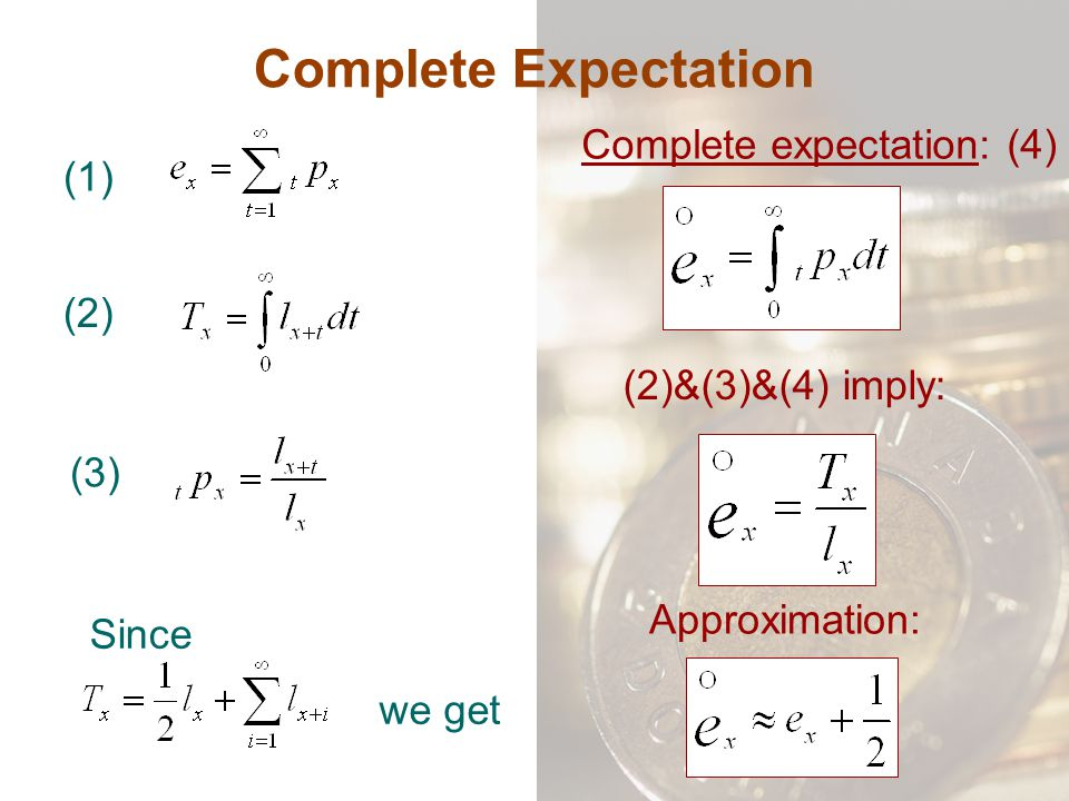 Complete Expectation (1) Complete expectation: (4) Approximation: (2) (3) (2)&(3)&(4) imply: Since we get