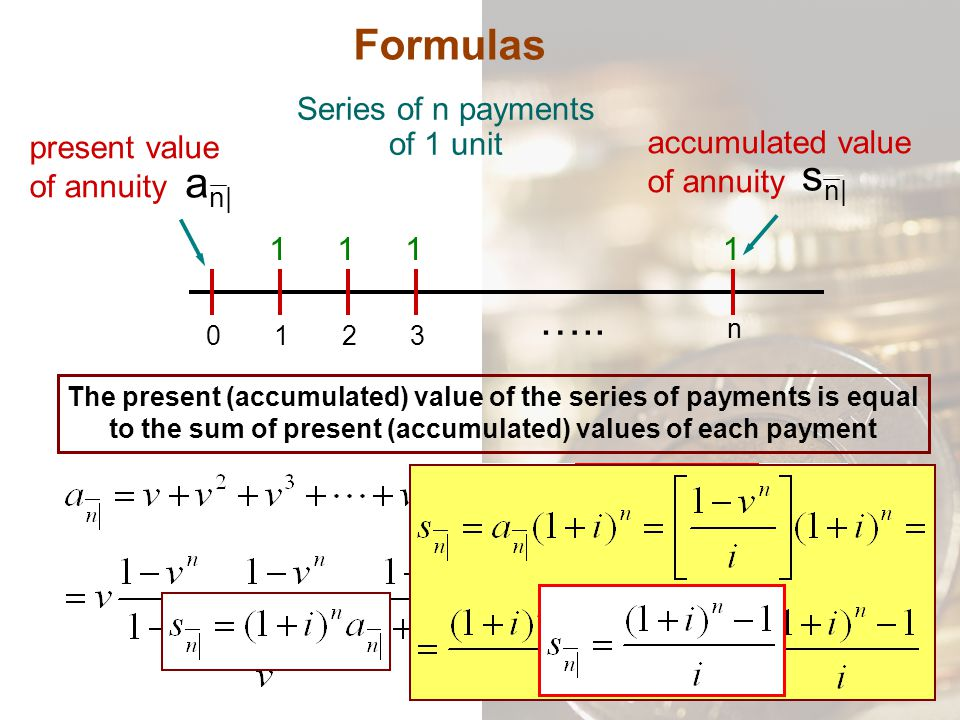 present value of annuity Formulas Series of n payments of 1 unit 0132 n 1111 ….. a n| accumulated value of annuity The present (accumulated) value of