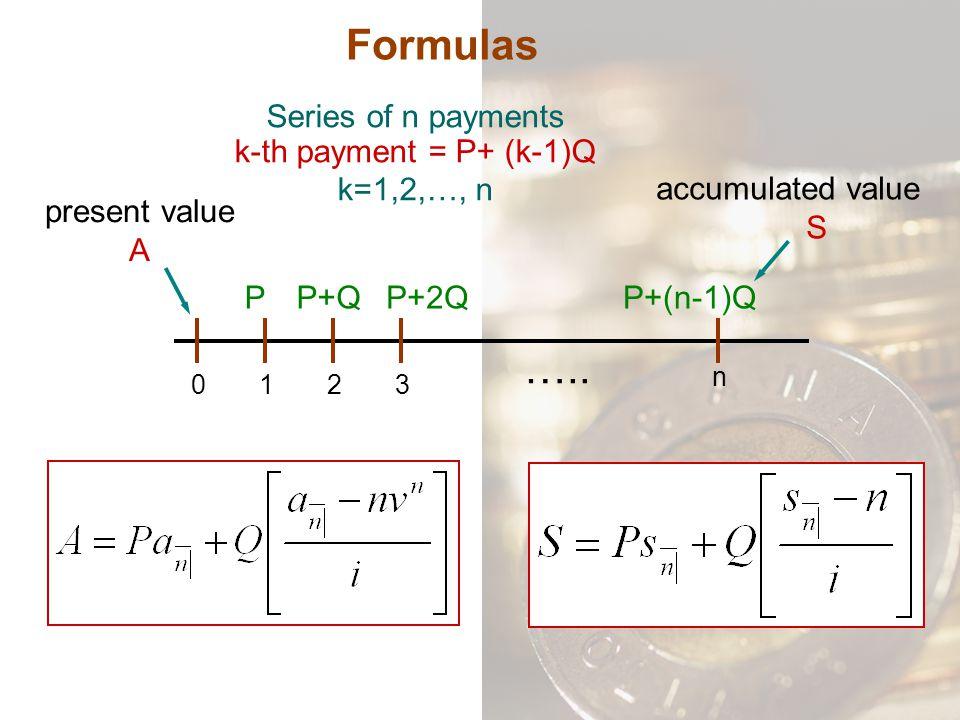 Formulas Series of n payments k-th payment = P+ (k-1)Q k=1,2,…, n 0132 n PP+QP+2QP+(n-1)Q ….. present value A accumulated value S
