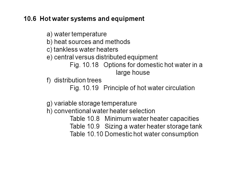 10.6 Hot water systems and equipment a) water temperature b) heat sources and methods c) tankless water heaters e) central versus distributed equipment Fig.