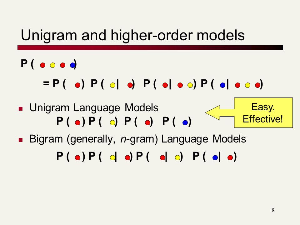 Unigram and higher-order models Unigram Language Models Bigram (generally, n-gram) Language Models = P ( )P ( | ) P ( ) P ( ) P ( ) P ( ) P ( ) P ( ) P ( | ) P ( | ) P ( | ) Easy.