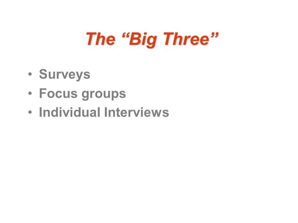 The Big Three Surveys Focus groups Individual Interviews