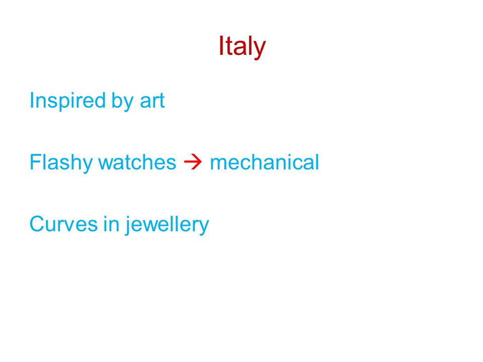 Italy Inspired by art Flashy watches  mechanical Curves in jewellery