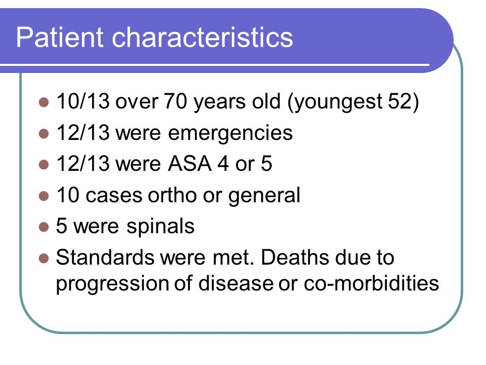 Patient characteristics 10/13 over 70 years old (youngest 52) 12/13 were emergencies 12/13 were ASA 4 or 5 10 cases ortho or general 5 were spinals Standards were met.