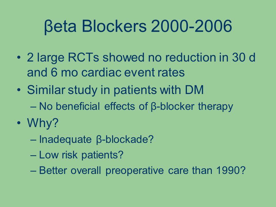 βeta Blockers 2000-2006 2 large RCTs showed no reduction in 30 d and 6 mo cardiac event rates Similar study in patients with DM –No beneficial effects of β-blocker therapy Why.