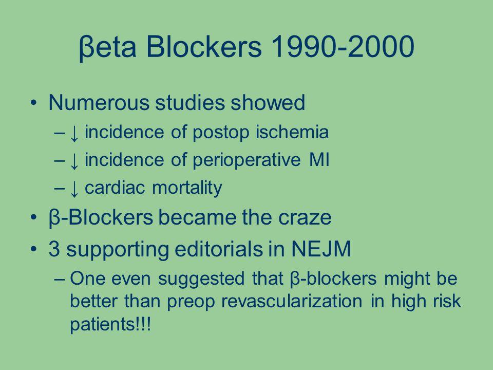 βeta Blockers 1990-2000 Numerous studies showed –↓ incidence of postop ischemia –↓ incidence of perioperative MI –↓ cardiac mortality β-Blockers became the craze 3 supporting editorials in NEJM –One even suggested that β-blockers might be better than preop revascularization in high risk patients!!!