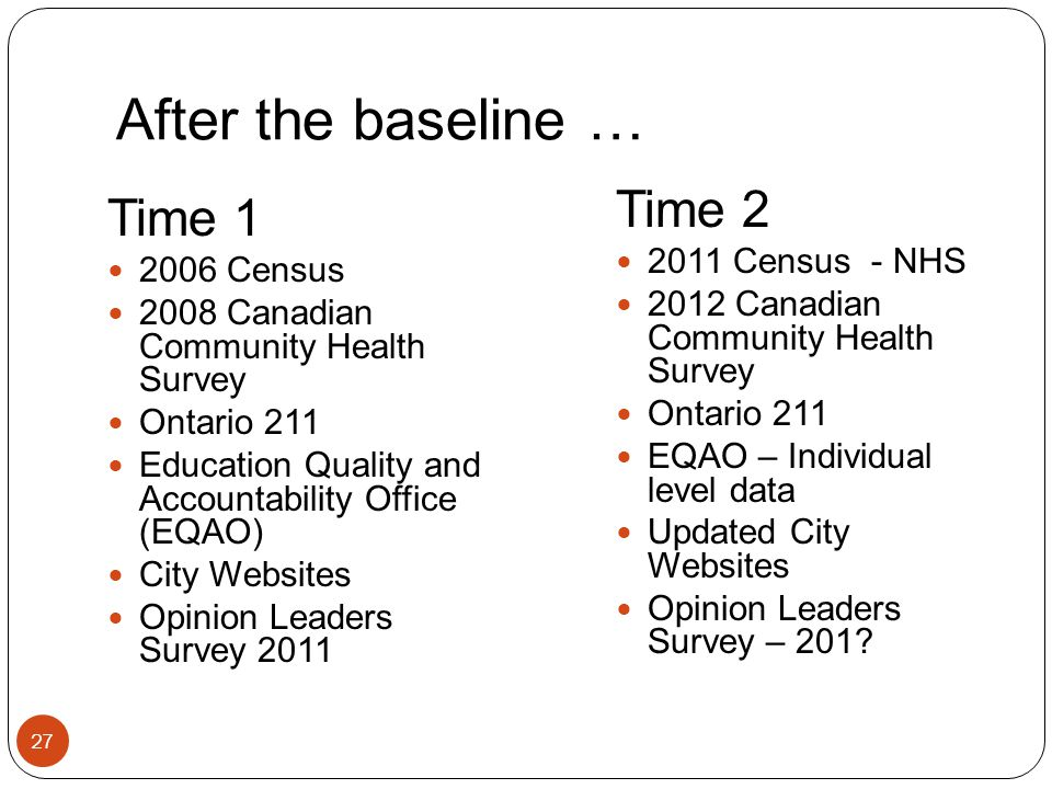 After the baseline … 27 Time 1 2006 Census 2008 Canadian Community Health Survey Ontario 211 Education Quality and Accountability Office (EQAO) City Websites Opinion Leaders Survey 2011 Time 2 2011 Census - NHS 2012 Canadian Community Health Survey Ontario 211 EQAO – Individual level data Updated City Websites Opinion Leaders Survey – 201