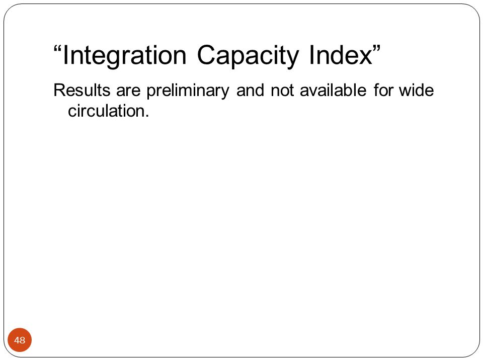 Integration Capacity Index 48 Results are preliminary and not available for wide circulation.