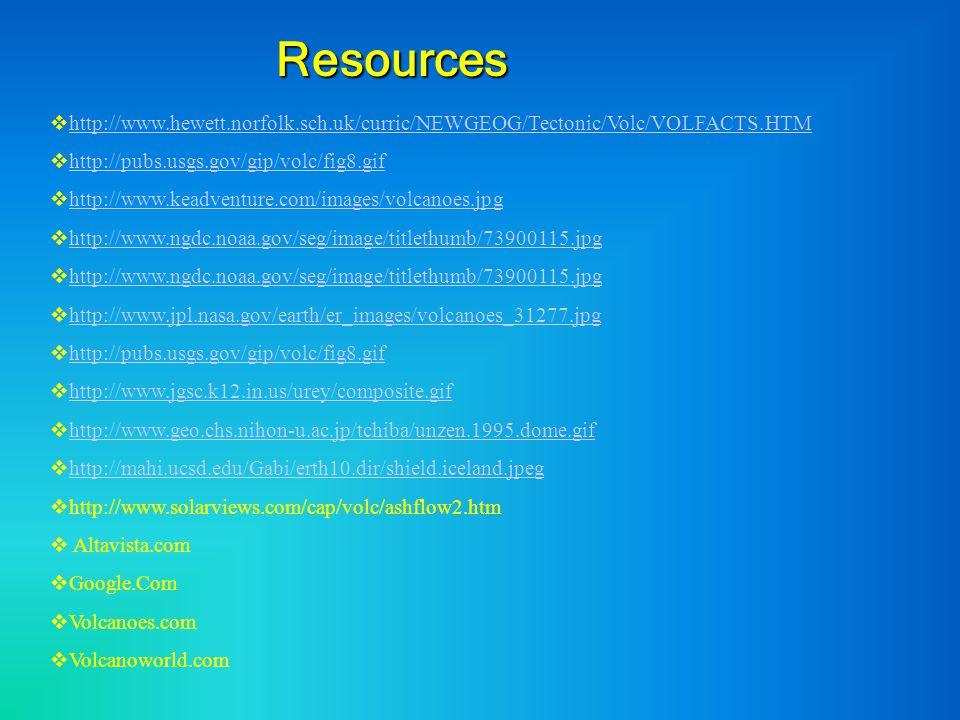 Resources  http://www.hewett.norfolk.sch.uk/curric/NEWGEOG/Tectonic/Volc/VOLFACTS.HTM http://www.hewett.norfolk.sch.uk/curric/NEWGEOG/Tectonic/Volc/V