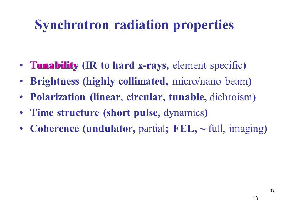 18 Synchrotron radiation properties Tunability (IR to hard x-rays, element specific) Brightness (highly collimated, micro/nano beam) Polarization (lin