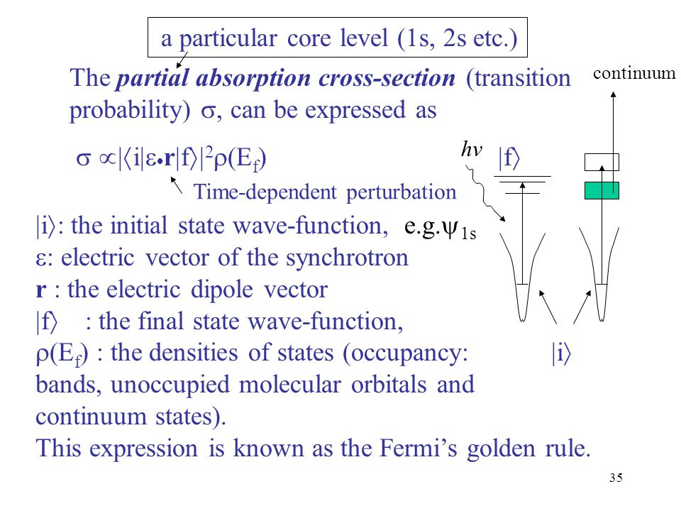 35 The partial absorption cross-section (transition probability) , can be expressed as   i   r  f  2  (E f )  f   i  : the initial sta