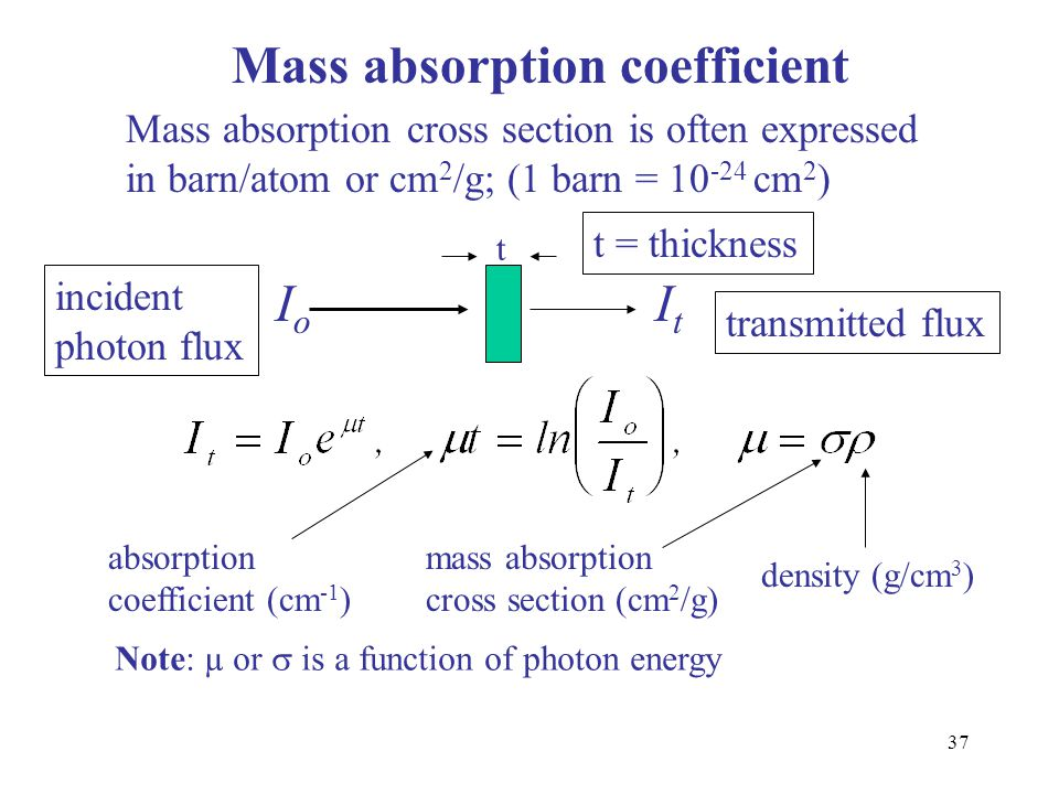 37 Mass absorption coefficient Mass absorption cross section is often expressed in barn/atom or cm 2 /g; (1 barn = 10 -24 cm 2 ) t IoIo ItIt absorptio