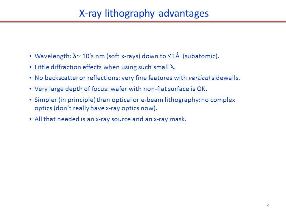 Wavelength: 10's nm (soft x-rays) down to  1Å (subatomic).