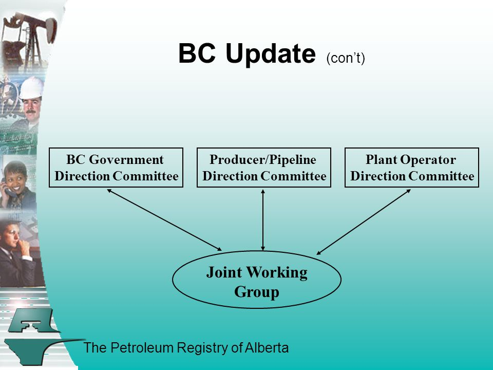 The Petroleum Registry of Alberta BC Update (con't) Producer/Pipeline Direction Committee BC Government Direction Committee Plant Operator Direction Committee Joint Working Group