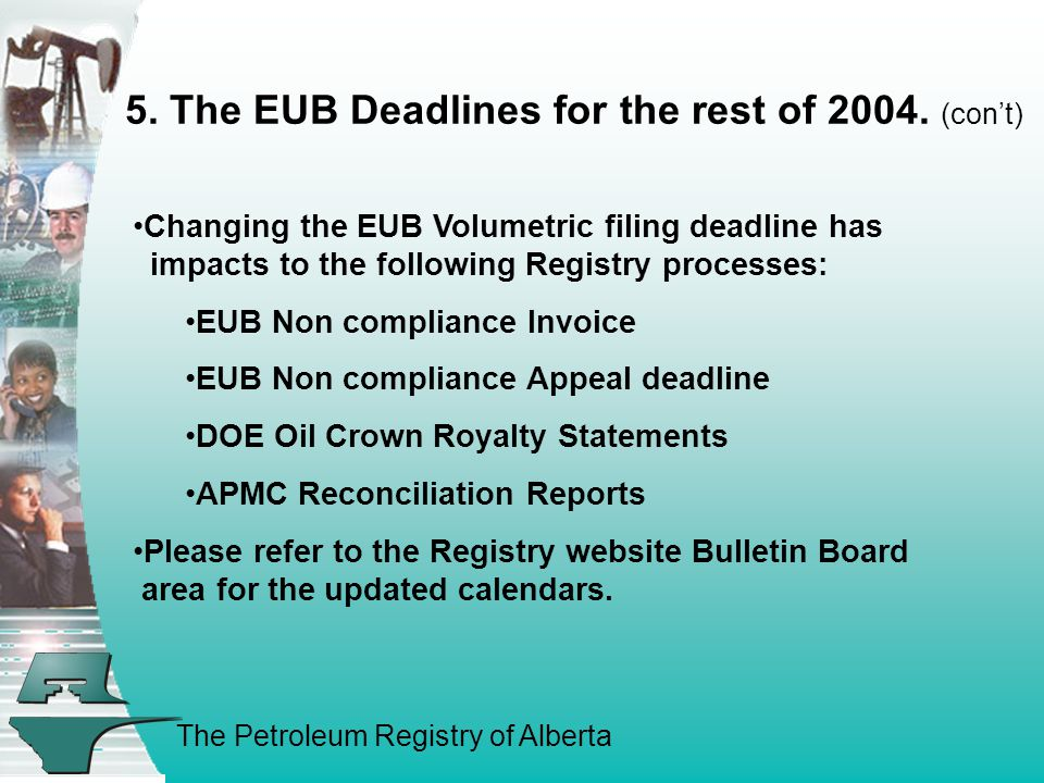 The Petroleum Registry of Alberta 5. The EUB Deadlines for the rest of 2004.
